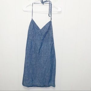 Gap Blue Chambray Halter Neck Strappy Dress